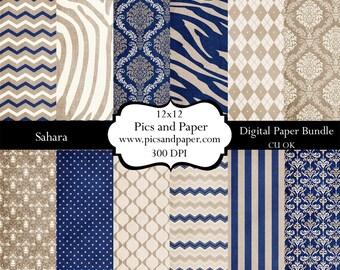 Digital scrapbooking paper and crafts  12x12 Polka Dots Damask Chevron SAHARA- Navy Blue Beige