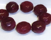 Lot of 8 Loose Hand Faceted Ruby Gemstone Beads 10-12 x 17mm