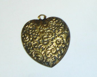 Large Antique Vctorian Gilded Brass Floral Relief Heart Pendant STEAMPUNK
