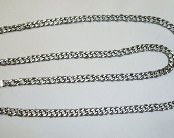 Vintage Heavy Cuban Link Chain Necklace UNISEX 925 Sterling Silver Italy