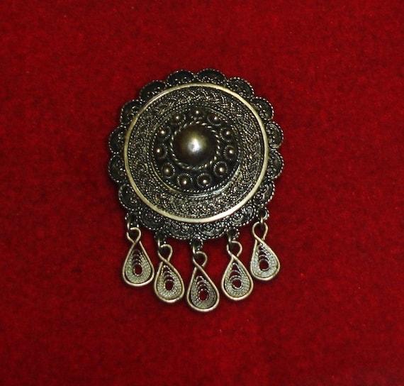 Antique 835 Silver Fligree European Silver Solje Style Shield Dangles Pin Brooch & Pendant Combo