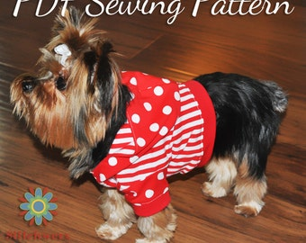 DOG TEE PATTERN, Dog Shirt Pattern, Dog Hoodie Pattern, Small Dog Clothes Digital Pdf Sewing Pattern, Five Sizes Included