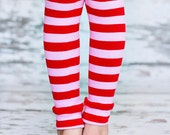 Leg Warmers - Pink & Red Stripes Valentines Day