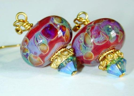 JBB Red CARIBBEAN Calypso Handmade Lampwork EARRINGS