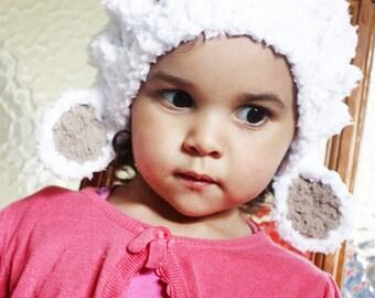 SALE 5T to Teen Lamb Hat Childrens Animal Hat - Lamb Costume Farm Animal White Sheep Hat Lamb Prop Photo Prop Gift Costume Photo Prop Gift