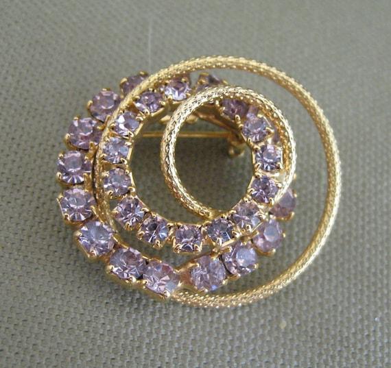 Purple Rhinestone Brooch, circle brooch, vintage