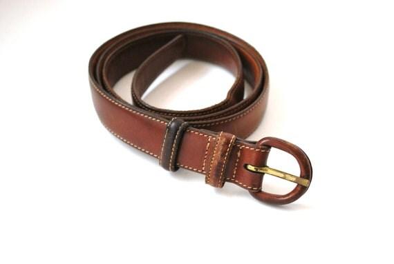 Vintage Leather Belt Trafalgar Ltd Cognac Brown Size 38 Genuine Leather Handmade in USA Swardstrop Calf