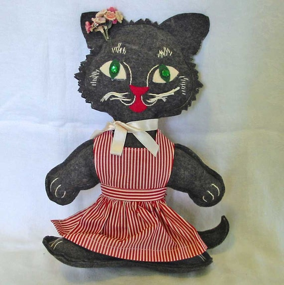 Soft Cuddly Wonderful Black KITTY CAT DOLL Embroidered Felix Face, Vintage Handmade, Felt Body, Red Candy Striped Dress