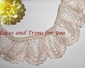 Beige Ruffled Lace Trim 5 Yards Scalloped 1-3/8 inch RL13 Added Items Ship No Charge