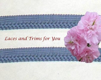 Blue Trim 5/10 Yds Braided Lip/Rope 3/8 inch wide Lace Trim R69A Added Items Ship No Charge