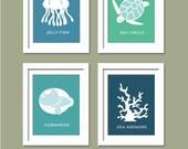 Sea Prints for Nursery. Sea Life, set of 4, 8X10, Nursery decor, Boy or Girl room decor, Birthday Gift, Outer space, Aliens