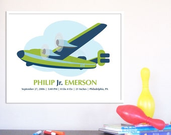 Nursery Birth Announcement Poster, Vintage Plane 8X10, Other sizes available