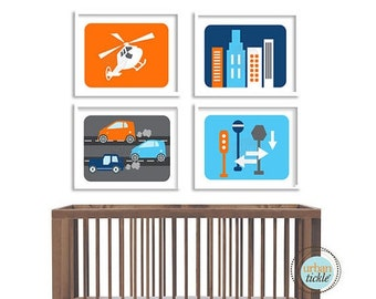 Modern City Art Prints for Child's room, Modern City Life, set of 4, Nursery decor, Boys room decor