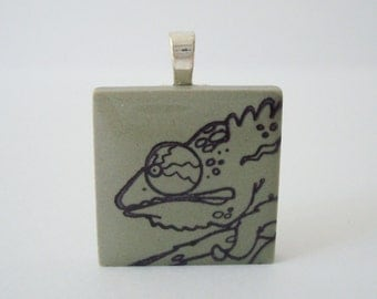 Chameleon Necklace Rubber Stamped Porcelain Tile Pendant Reptile Green