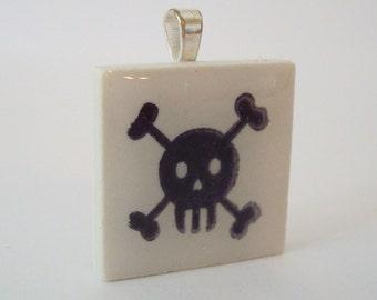 Goth Skull and Crossbones Necklace Rubber Stamped Porcelain Tile Pendant