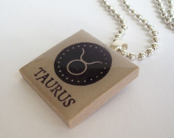 Taurus the Bull Necklace Zodiac Jewelry Rubber Stamped Porcelain Tile