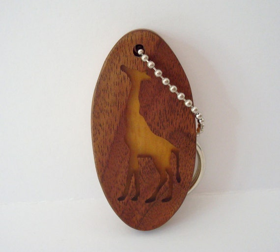 Wood Giraffe Key Chain Scroll Saw Keychain Walnut Yellowheart