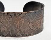 Etched Copper Cuff Bracelet, Thistles