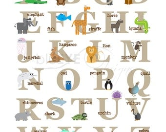 Alphabet Animals Print INSTANT DOWNLOAD