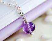 Purple Amethyst Necklace, Child Children, Genuine Gemstone, February Birthstone, Wire Wrapped, Simple, Sterling Silver Jewelry