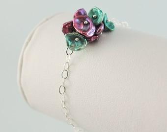 Flower Girl Bracelet Freshwater Pearl Blossom Child Children Plum Purple Keishi Dainty Sterling Silver Jewelry