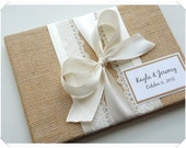 Burlap and Bow with Lace Wedding Guest Book (custom made in your colors)