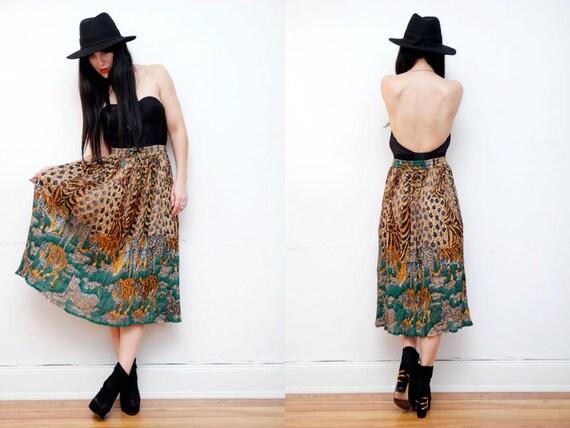 Leopard Gauze Boho Hippie High Waist Skirt 70s