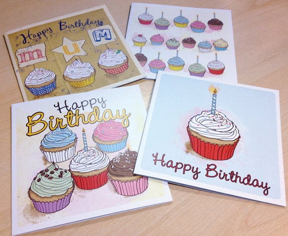 Set of 4 - Cupcake Greeting Cards