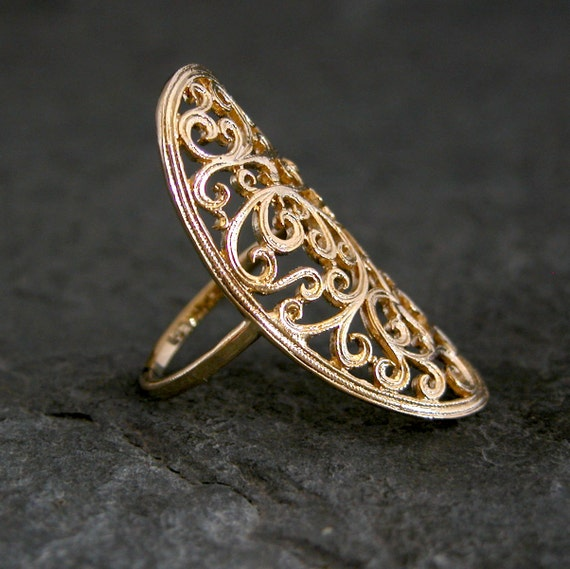 Gold Ring ,Ethnic gold ring, Gold Lace Ring, Gold Lace Filigree Ring, Lace Large Ring, Handmade Jewelry, 22K Gold plated Lace Ring
