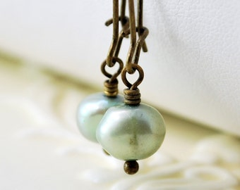 Mint Green Pearl Earrings Antiqued Brass Kidney Earwires Genuine Freshwater Simple Wire Wrapped Jewelry Complimentary Shipping