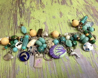 Blue Dolphin  Recycled /Upcycled Charm Bracelet
