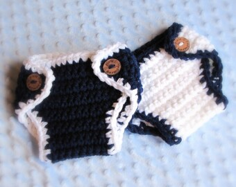 Twin Baby Boy DIAPER Covers - Navy Blue and White - Newborn Photo Prop - Made to ORDER- ANY Color - Reborn Doll