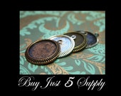 """10 PENDANT TRAYS - FREE Matching Pinch Bails ... 4 Color Choices Combo - 1"""" Round Bezel - Jewelry Pendant, Digital Collage Art"""