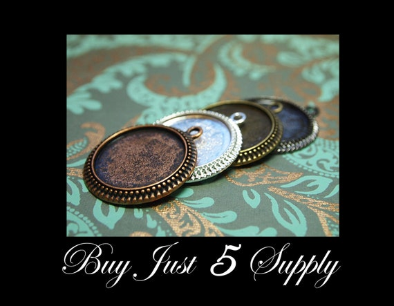 "10 PENDANT TRAYS - FREE Matching Pinch Bails ... 4 Color Choices Combo - 1"" Round Bezel - Jewelry Pendant, Digital Collage Art"