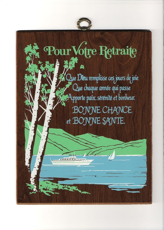 Vintage 1970's Kitsch Retirement Wall Plaque in French from Québec - Laminate Nautical Landscape Scene - Boats on Lake & Trees