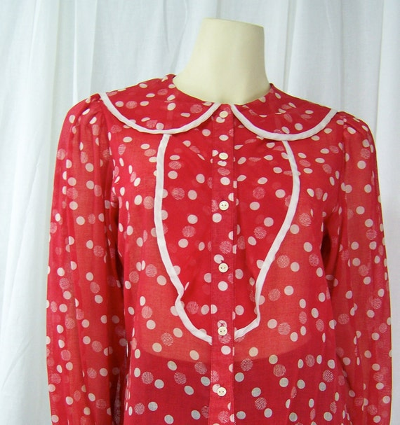 Vintage College Town late 1970s polka dot blouse