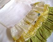 Fresh as a Daisy 3 Ruffle Flour Sack Towel-Shabby Chic-Yellow and green