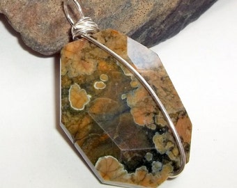 Rainforest Jasper Pendant Wire Wrapped Sterling Silver Brown earthegy