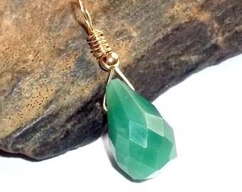 Green Opal Gemstone Pendant Teardrop earthegy Wire Wrapped