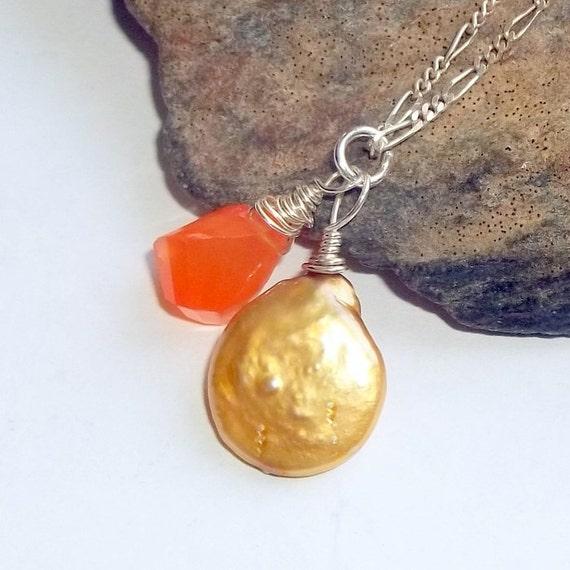 Orange Carnelian Amulet Gemstone Energy Necklace Sterling Silver Golden Pearl earthegy