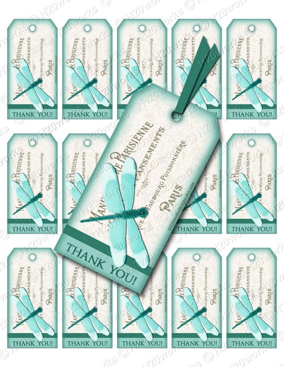 Teal Dragonfly Shabby Chic Digital Gift Tags on 8.5x11 Sheet - French Country, Turquoise, Aqua, French, Lettering, Paris, France