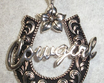 Silver and black cowgirl pendant, 49x63mm, sold individually