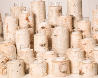 Birch Votive Candle Holders - Set Of 24