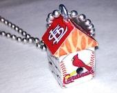 Birdhouse Necklace St Louis Cardinal Miniature Wood - Charm - Red Baseball Pendant - Cute