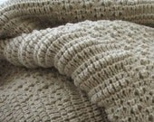 """Knitted Afghan, Throw Blanket, """"Stone"""""""