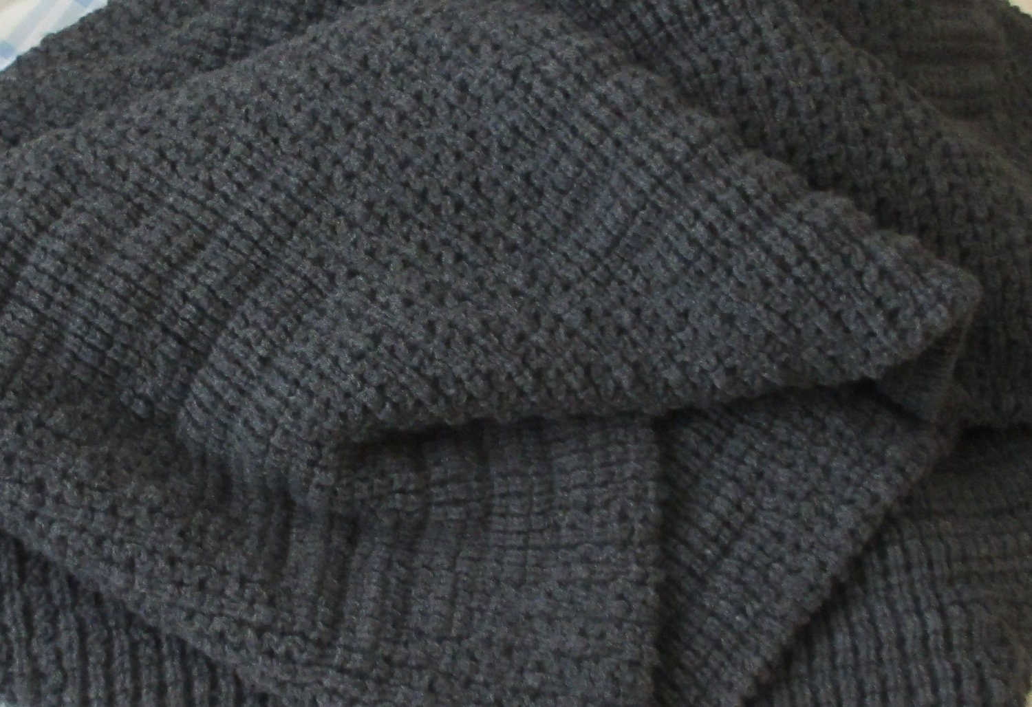 knitted blanket afghan throw dark gray heather. Black Bedroom Furniture Sets. Home Design Ideas