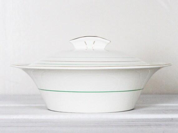 Vintage Lidded Tureen Bowl Serving Vegetable Soup Art Deco Style Green Gold Cream Parek Johnson Bros