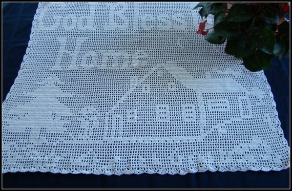 God Bless Our Home filet crocheted runner