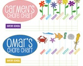 Printable Chore Charts for Kids - Flowers or Fish