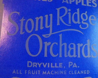 Crate Label -- Stony Ridge Orchards, Lithographed, Gray on Deep Blue